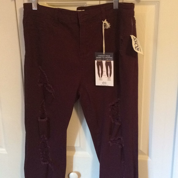 ffd17b6a9b4 Cello Jeans | Junior Burgundy Distressed Style Size 17 | Poshmark